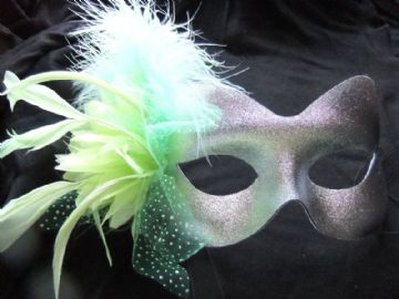 Silver & pale green flower feather mask (1)